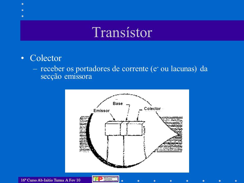 Transístor Colector. receber os portadores de corrente (e- ou lacunas) da secção emissora. Emissor.
