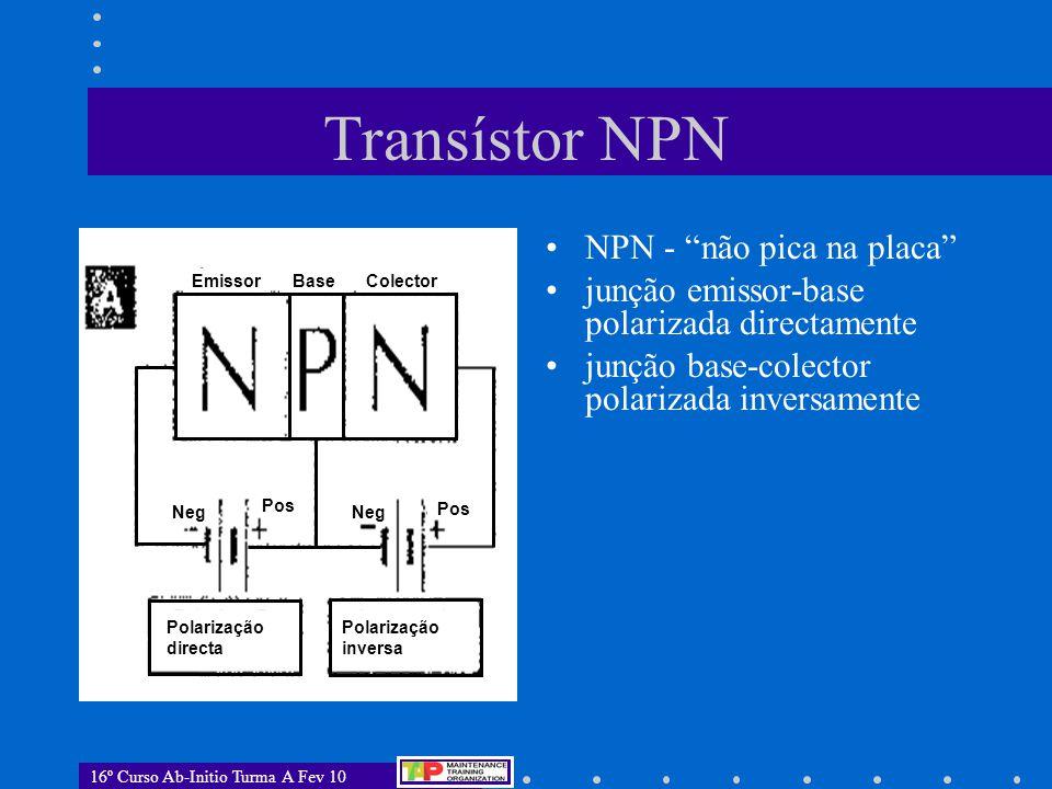 Transístor NPN NPN - não pica na placa