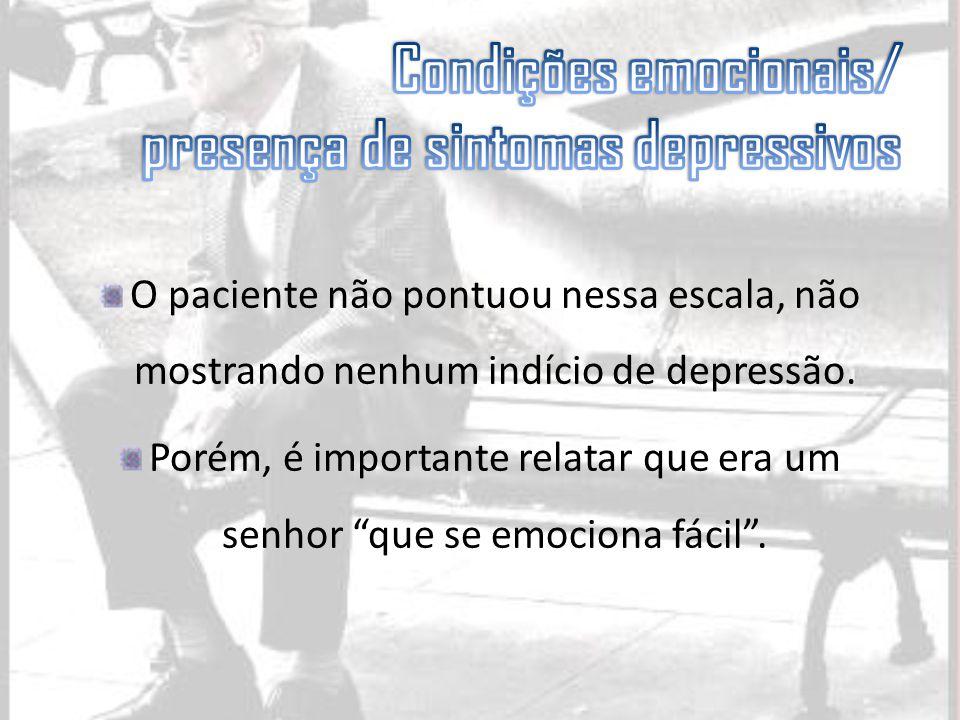 Condições emocionais/ presença de sintomas depressivos