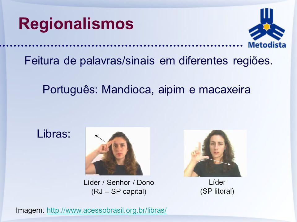 Regionalismos Feitura de palavras/sinais em diferentes regiões.