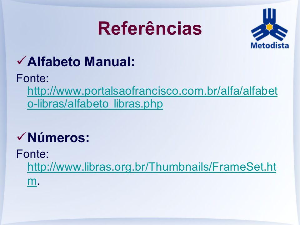 Referências Alfabeto Manual: Números:
