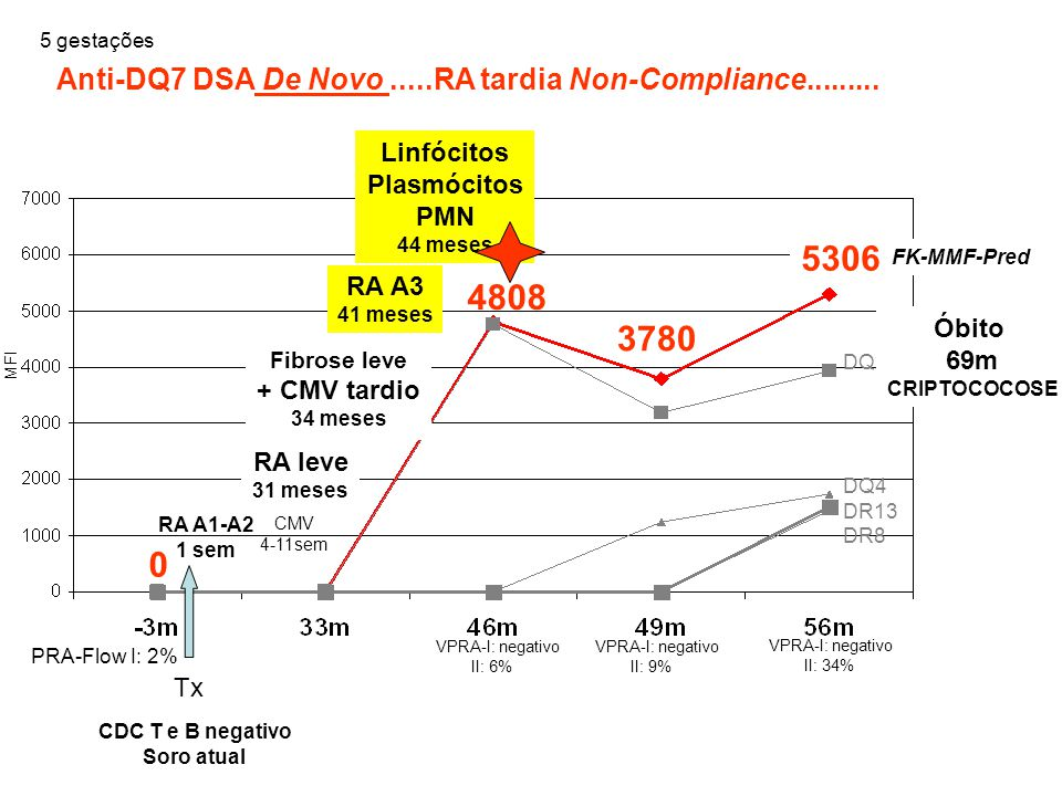 5 gestações Anti-DQ7 DSA De Novo .....RA tardia Non-Compliance......... Linfócitos. Plasmócitos. PMN.