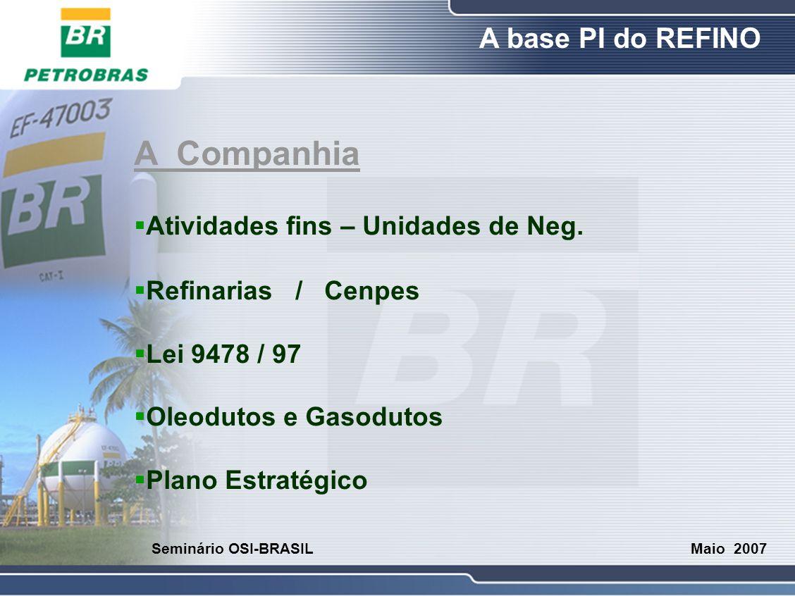 A Companhia Atividades fins – Unidades de Neg. Refinarias / Cenpes