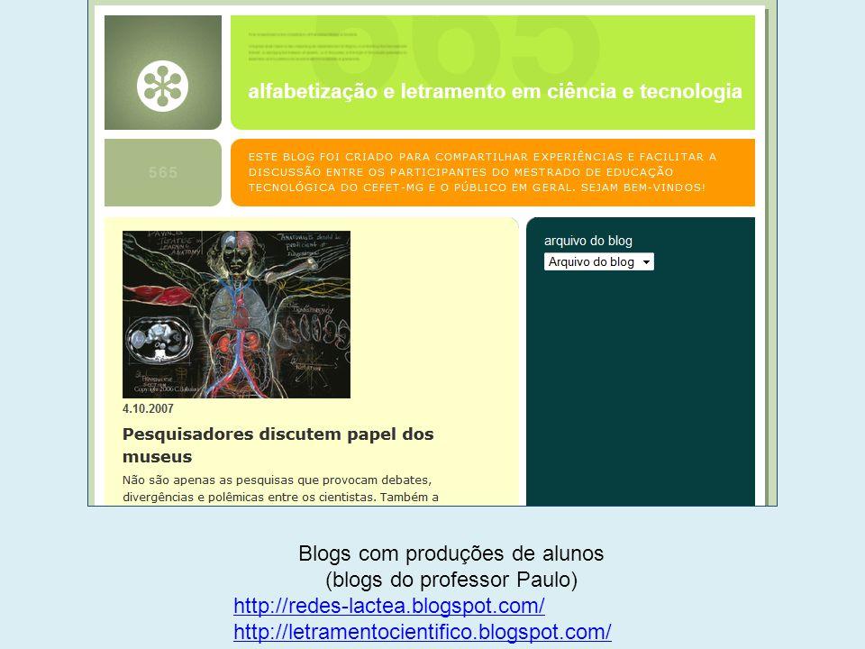 Blogs com produções de alunos (blogs do professor Paulo)