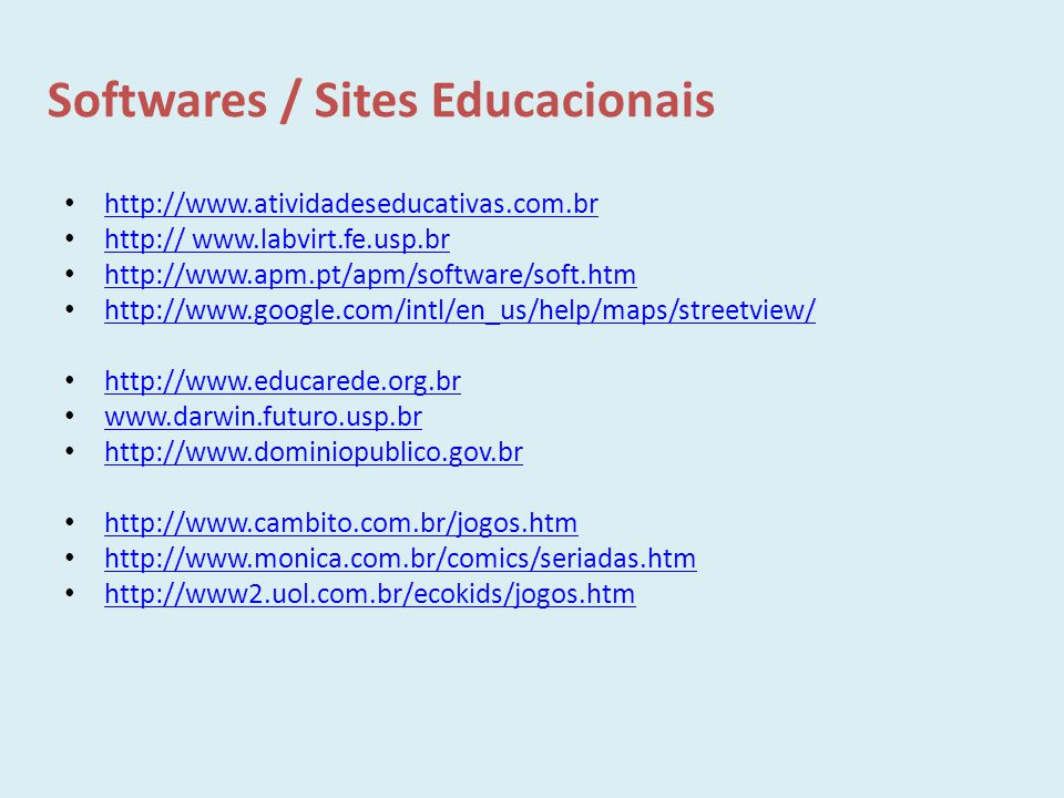 Softwares / Sites Educacionais
