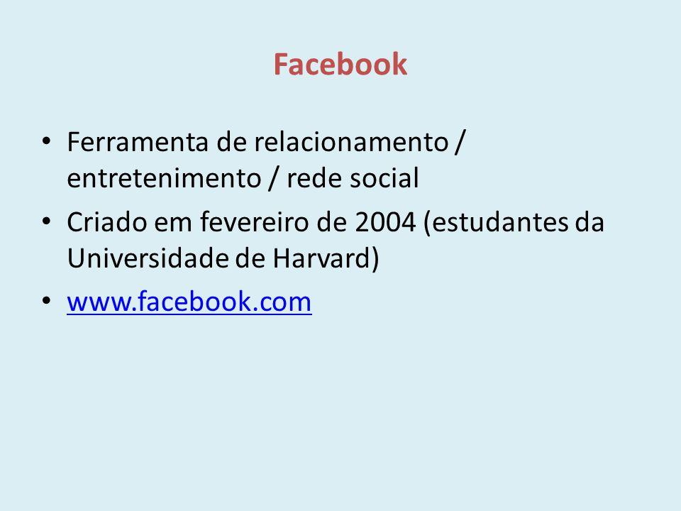 Facebook Ferramenta de relacionamento / entretenimento / rede social