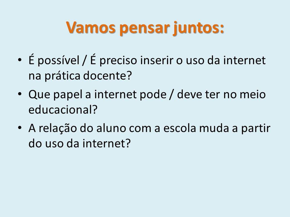 Vamos pensar juntos: É possível / É preciso inserir o uso da internet na prática docente Que papel a internet pode / deve ter no meio educacional