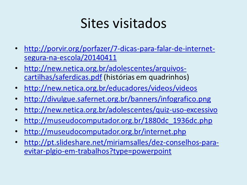 Sites visitados http://porvir.org/porfazer/7-dicas-para-falar-de-internet-segura-na-escola/20140411.