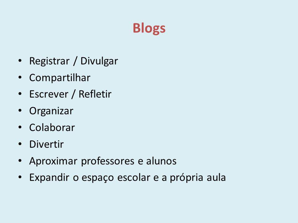Blogs Registrar / Divulgar Compartilhar Escrever / Refletir Organizar