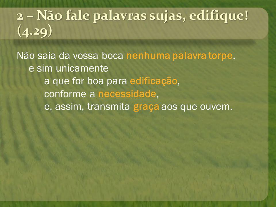 2 – Não fale palavras sujas, edifique! (4.29)