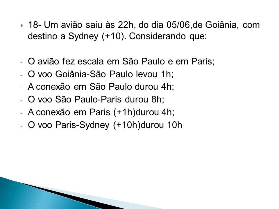 18- Um avião saiu às 22h, do dia 05/06,de Goiânia, com destino a Sydney (+10). Considerando que:
