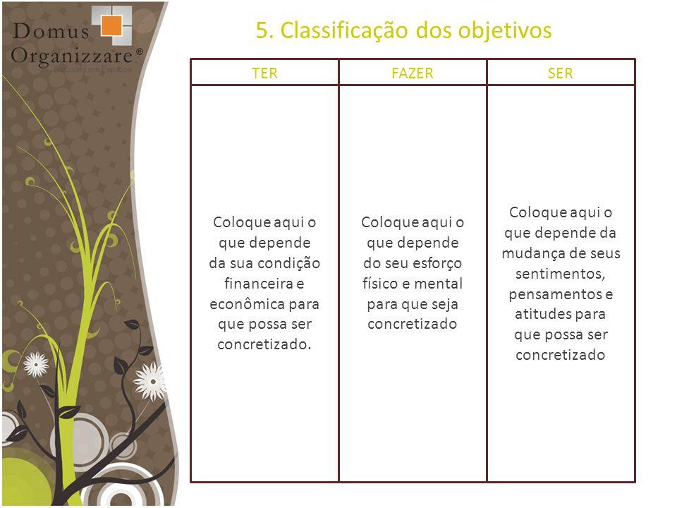 5. Classificação dos objetivos