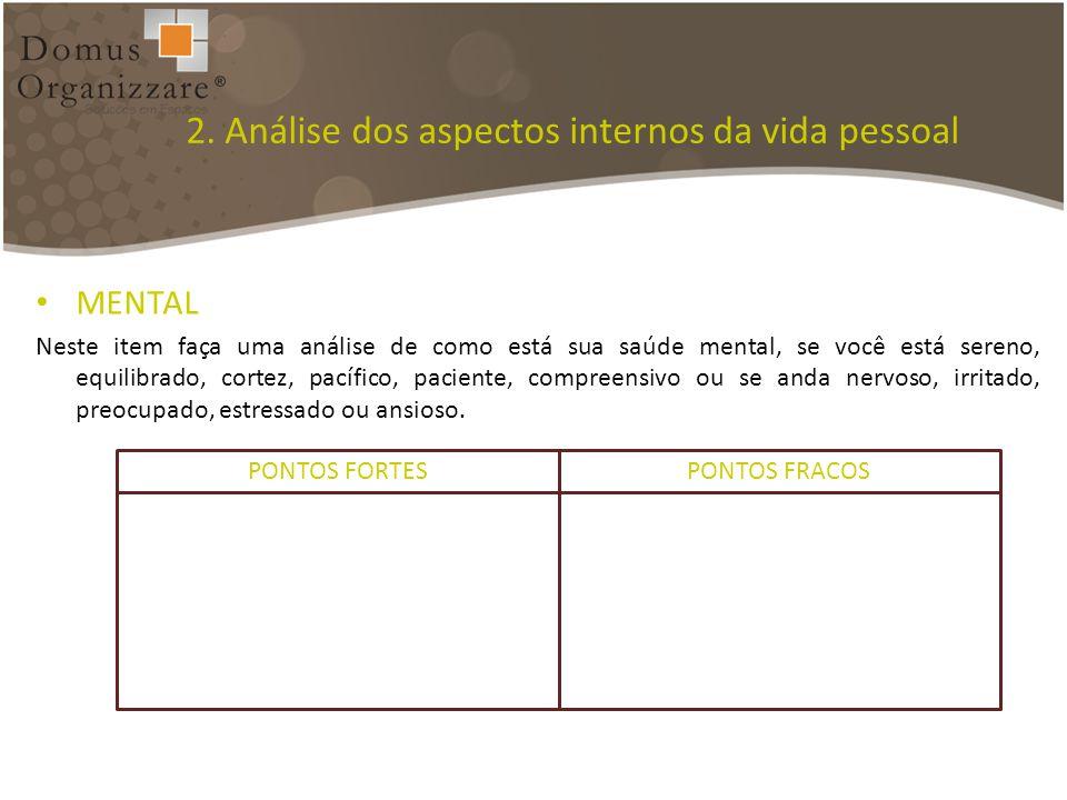 2. Análise dos aspectos internos da vida pessoal