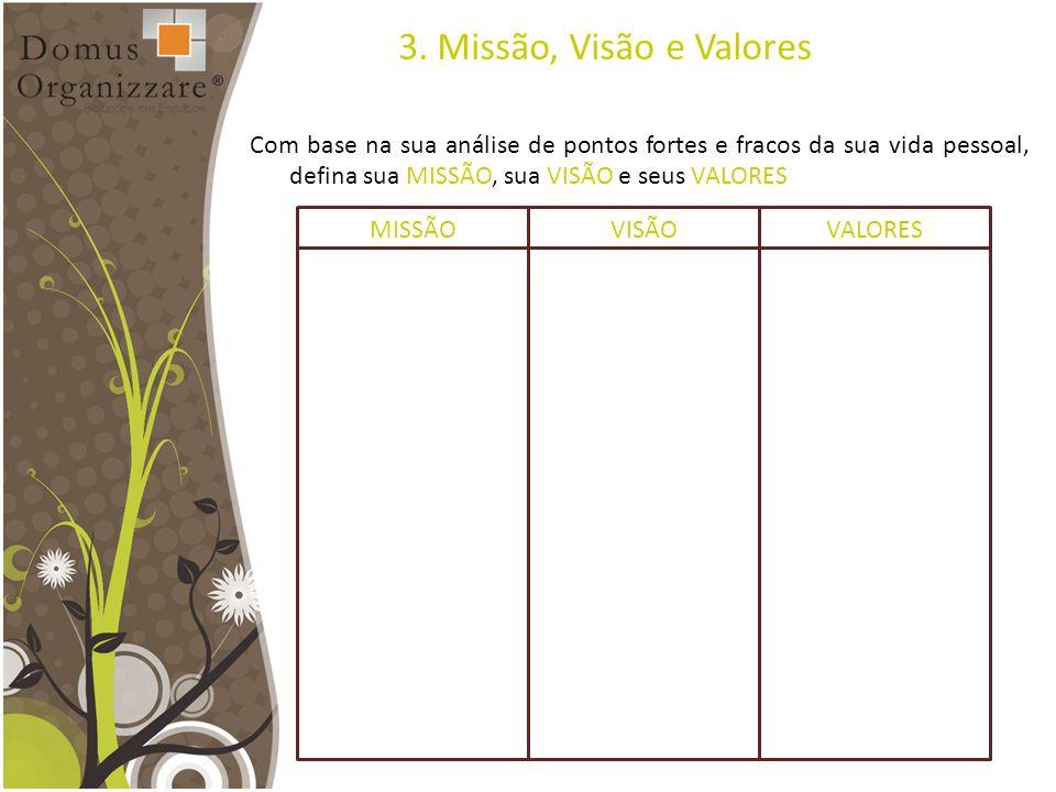 3. Missão, Visão e Valores Com base na sua análise de pontos fortes e fracos da sua vida pessoal, defina sua MISSÃO, sua VISÃO e seus VALORES.