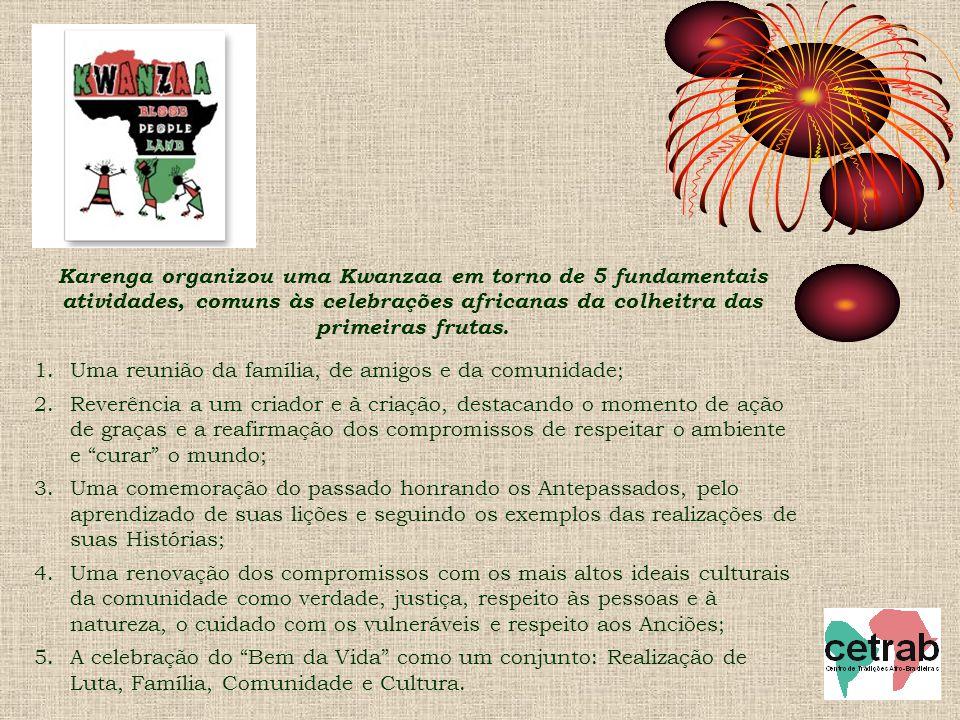 Karenga organizou uma Kwanzaa em torno de 5 fundamentais atividades, comuns às celebrações africanas da colheitra das primeiras frutas.