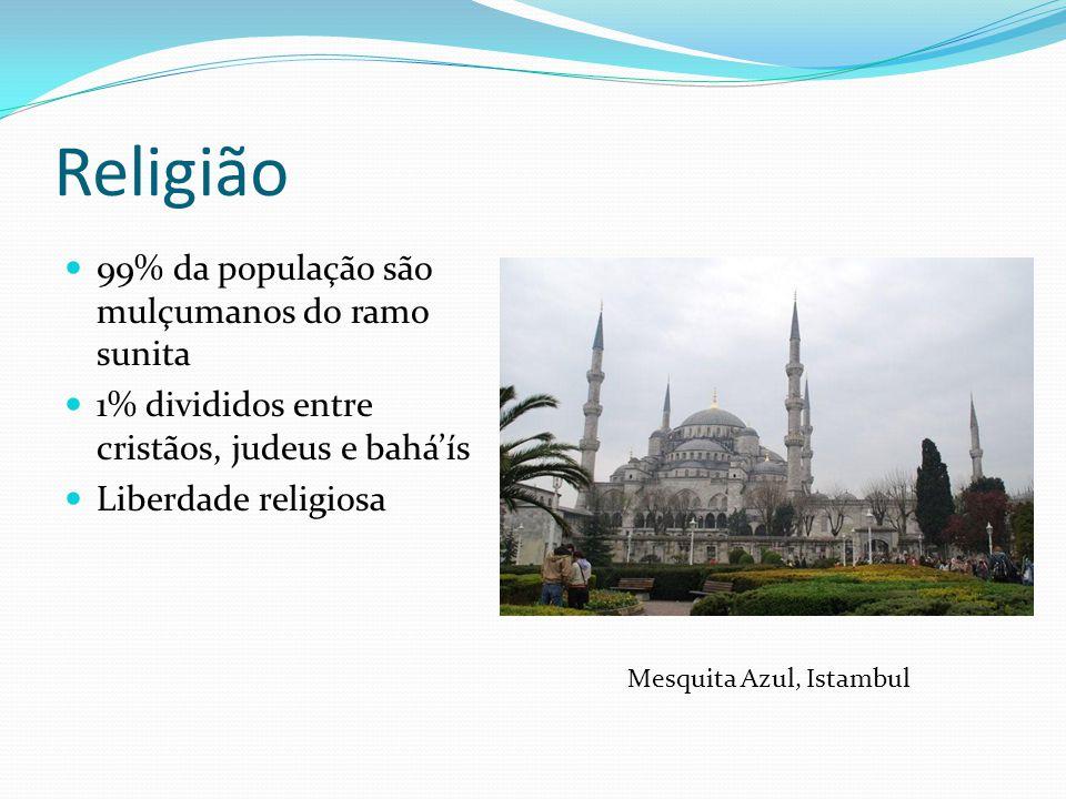 Religião 99% da população são mulçumanos do ramo sunita