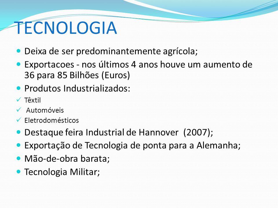 TECNOLOGIA Deixa de ser predominantemente agrícola;