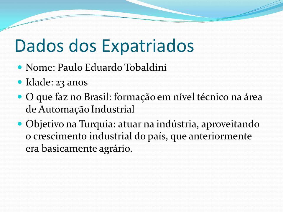 Dados dos Expatriados Nome: Paulo Eduardo Tobaldini Idade: 23 anos