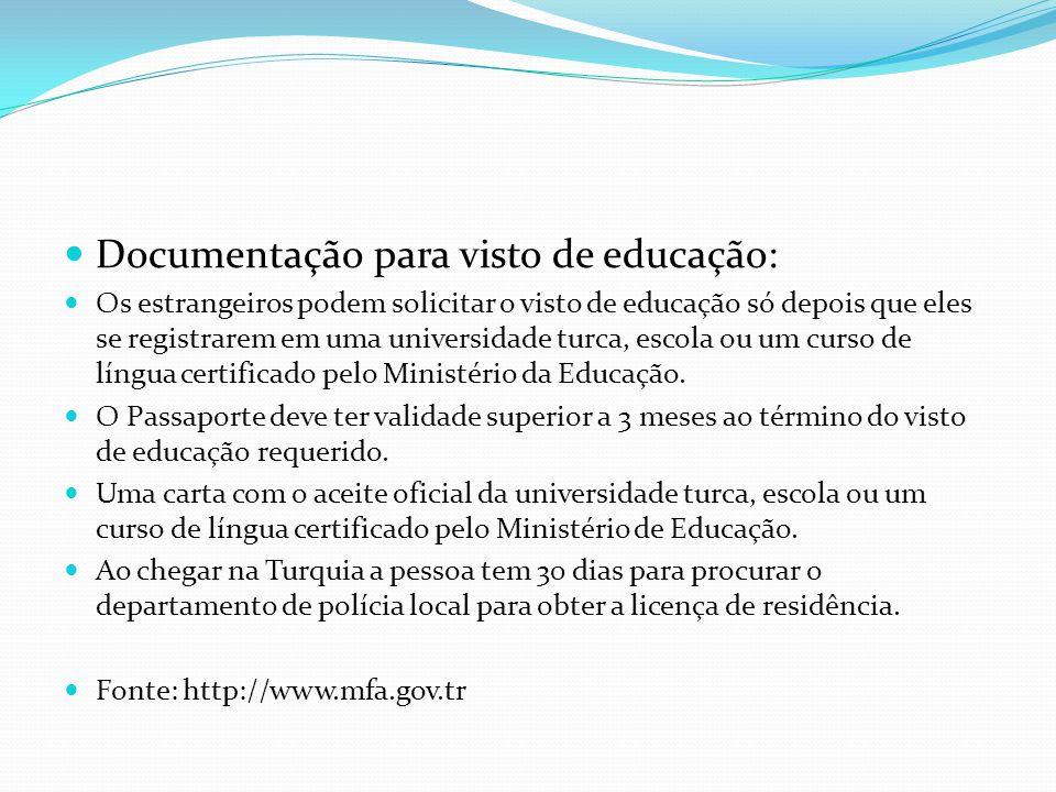 Documentação para visto de educação: