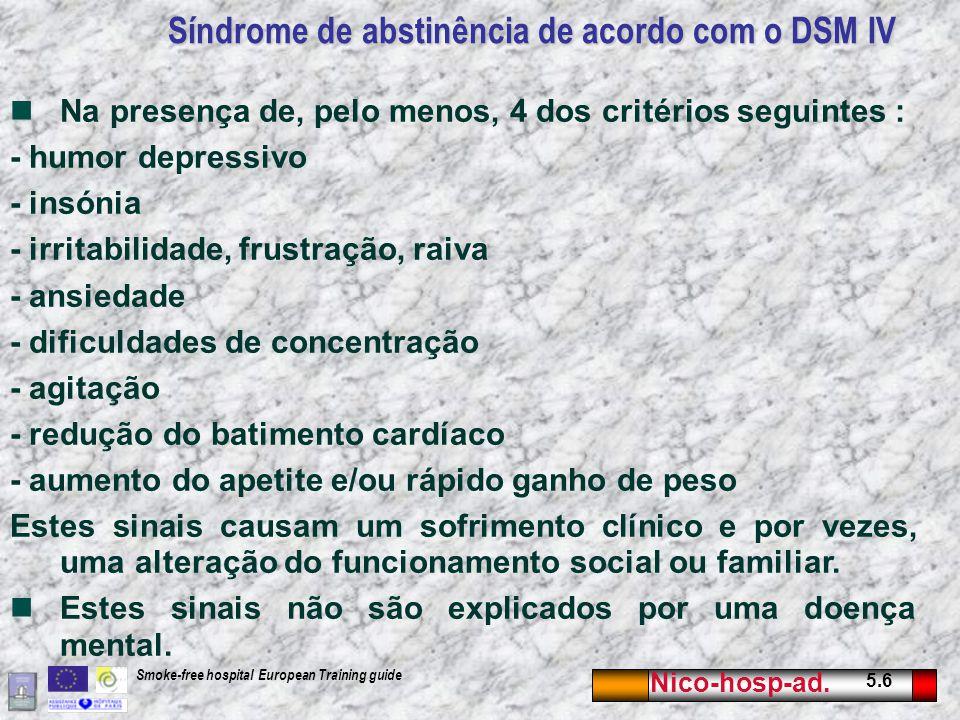 Síndrome de abstinência de acordo com o DSM IV