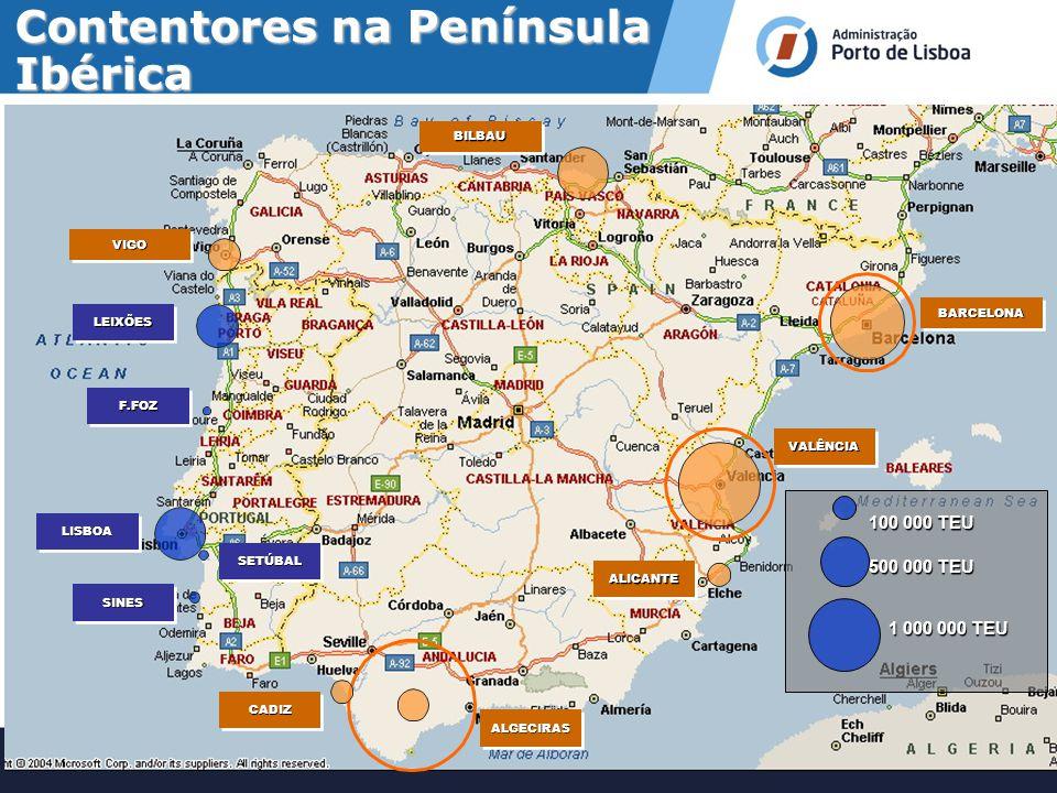Contentores na Península Ibérica