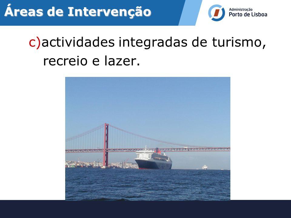 c)actividades integradas de turismo, recreio e lazer.