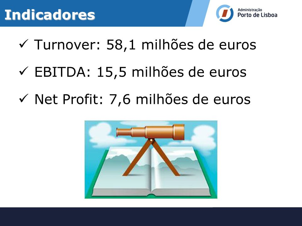 Indicadores Turnover: 58,1 milhões de euros. EBITDA: 15,5 milhões de euros.