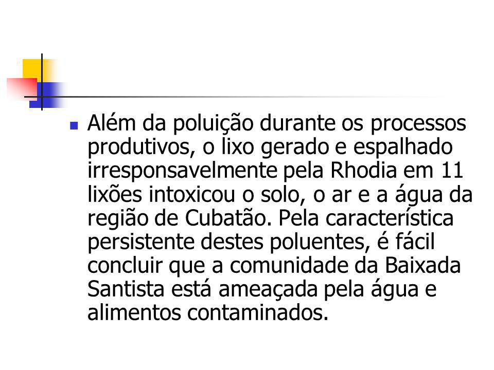 Além da poluição durante os processos produtivos, o lixo gerado e espalhado irresponsavelmente pela Rhodia em 11 lixões intoxicou o solo, o ar e a água da região de Cubatão.