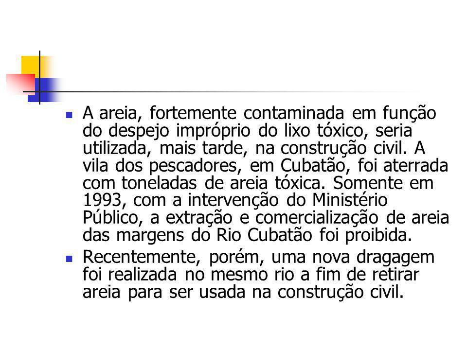 A areia, fortemente contaminada em função do despejo impróprio do lixo tóxico, seria utilizada, mais tarde, na construção civil. A vila dos pescadores, em Cubatão, foi aterrada com toneladas de areia tóxica. Somente em 1993, com a intervenção do Ministério Público, a extração e comercialização de areia das margens do Rio Cubatão foi proibida.