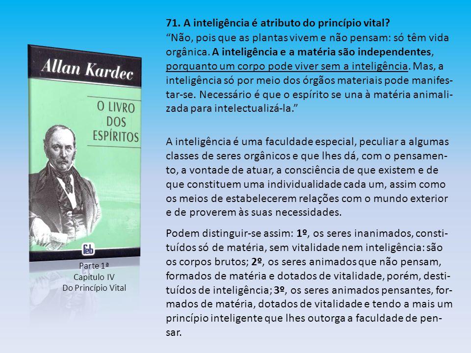71. A inteligência é atributo do princípio vital