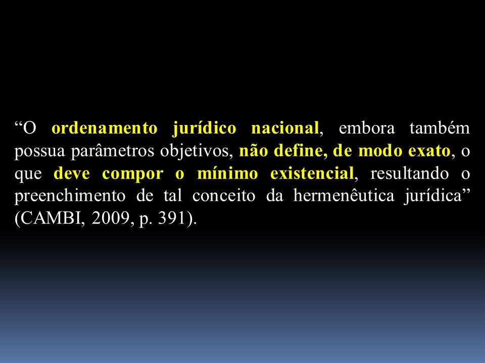 O ordenamento jurídico nacional, embora também possua parâmetros objetivos, não define, de modo exato, o que deve compor o mínimo existencial, resultando o preenchimento de tal conceito da hermenêutica jurídica (CAMBI, 2009, p.