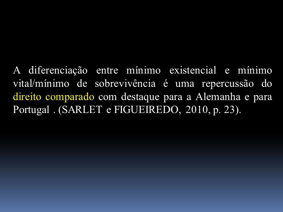 A diferenciação entre mínimo existencial e mínimo vital/mínimo de sobrevivência é uma repercussão do direito comparado com destaque para a Alemanha e para Portugal .