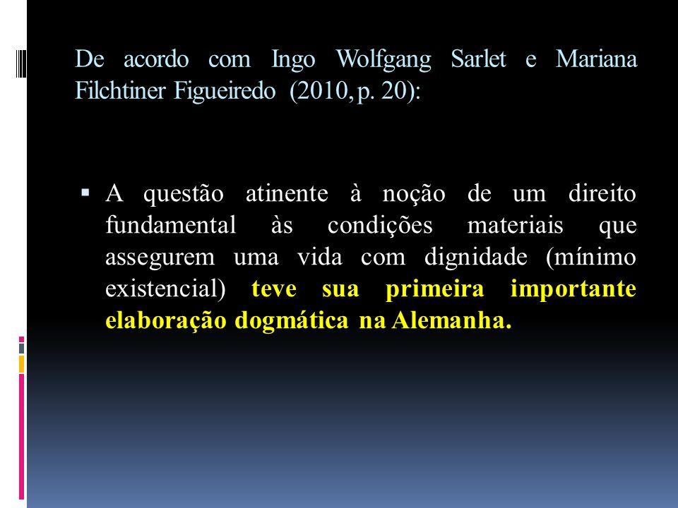 De acordo com Ingo Wolfgang Sarlet e Mariana Filchtiner Figueiredo (2010, p. 20):