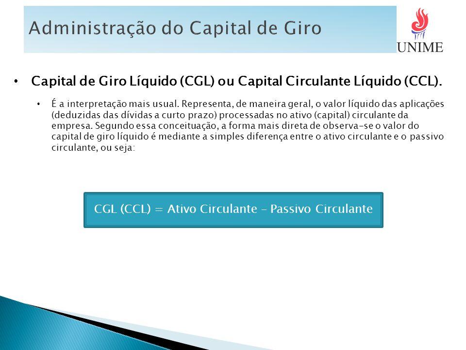 CGL (CCL) = Ativo Circulante – Passivo Circulante