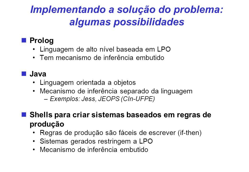 Implementando a solução do problema: algumas possibilidades