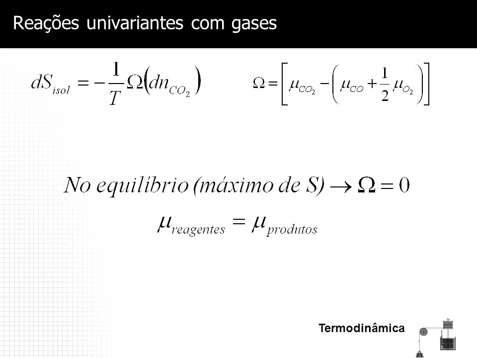 Reações univariantes com gases