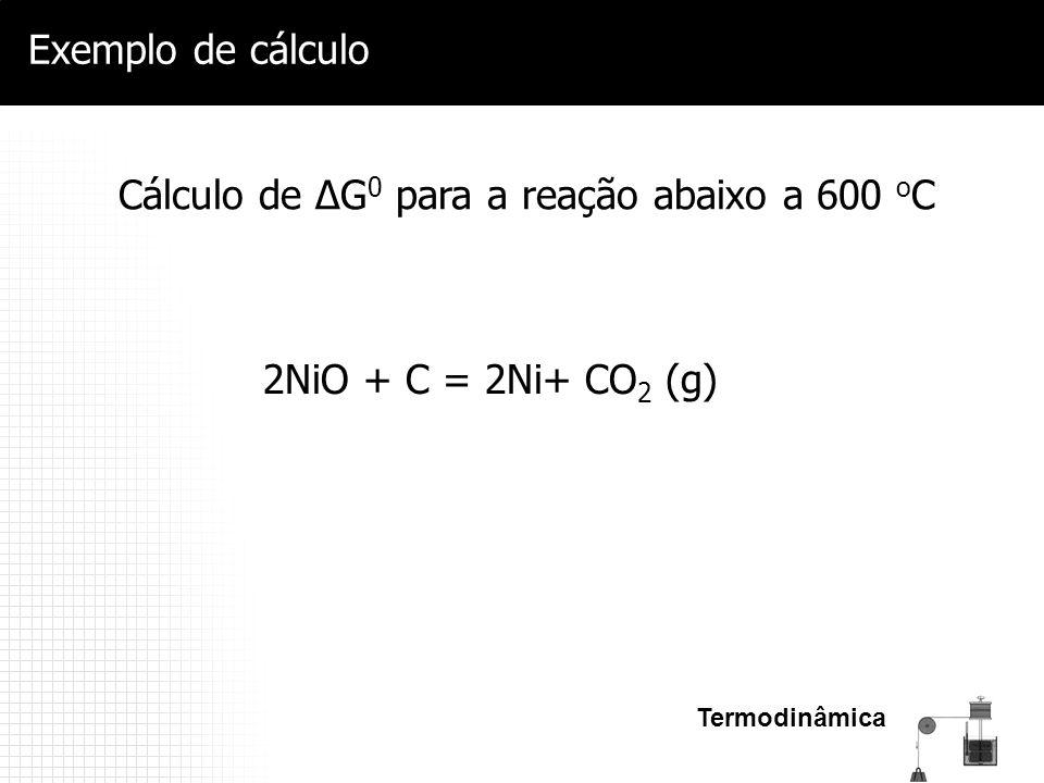 Cálculo de ΔG0 para a reação abaixo a 600 oC