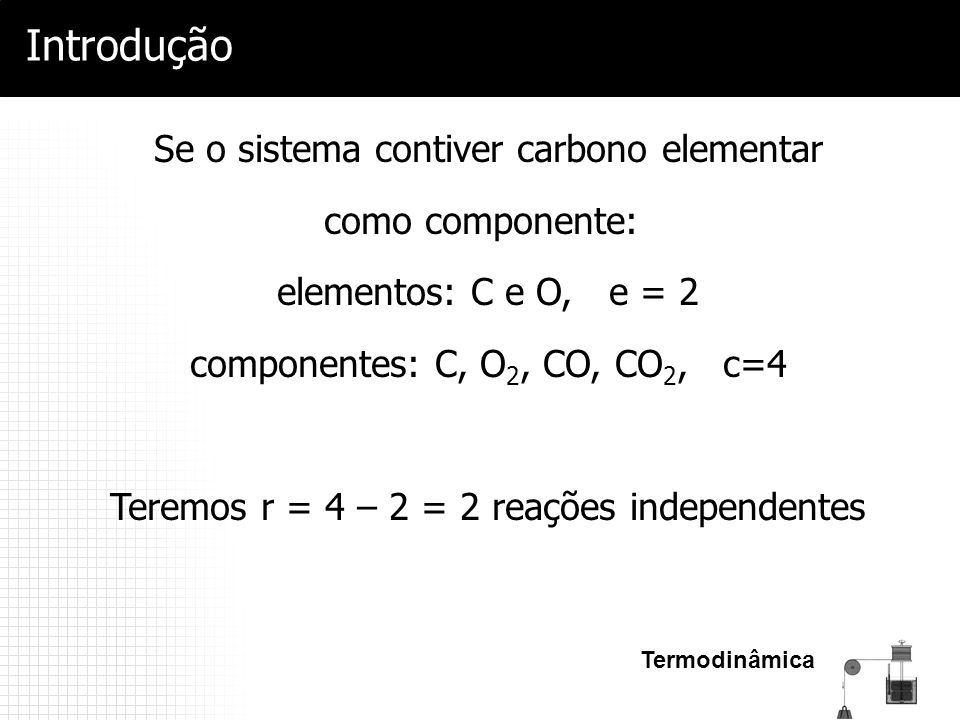 Introdução Se o sistema contiver carbono elementar como componente: