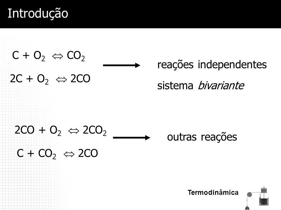 Introdução C + O2  CO2 reações independentes sistema bivariante