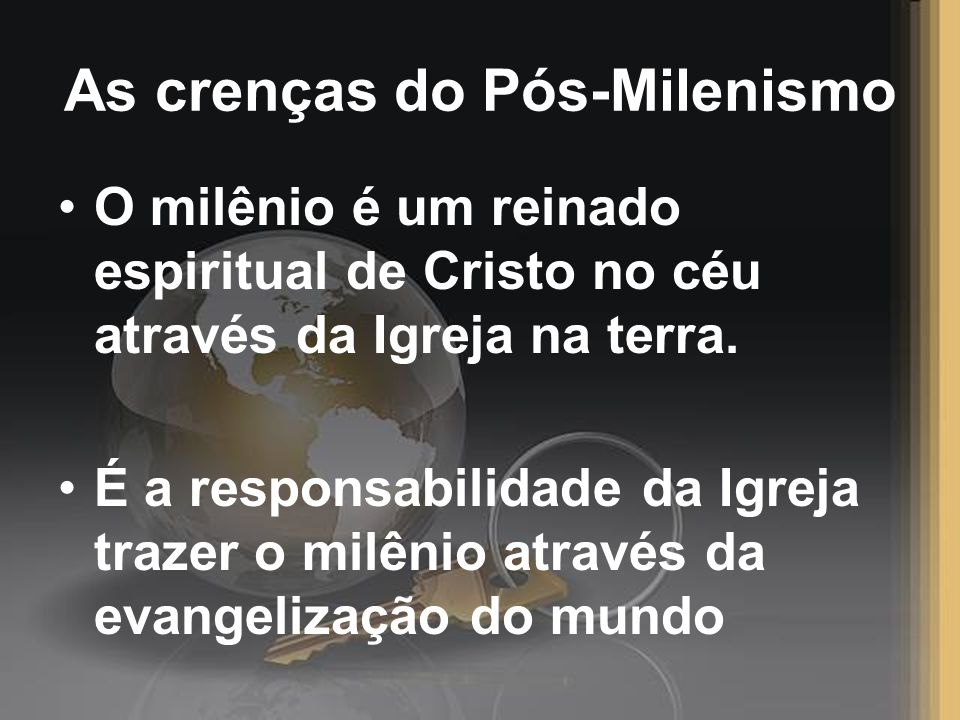 As crenças do Pós-Milenismo
