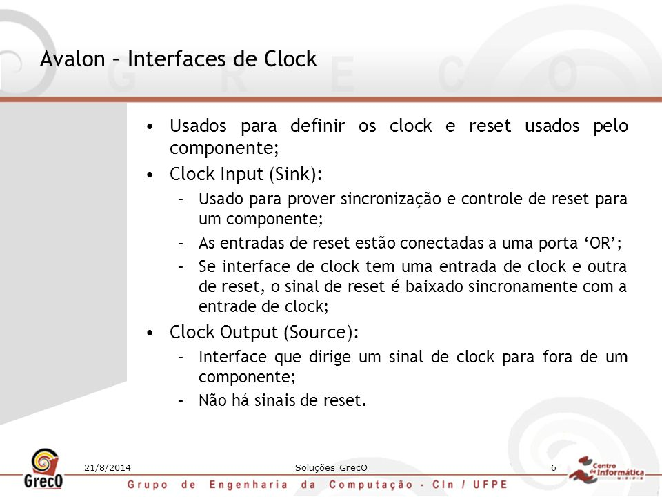 Avalon – Interfaces de Clock