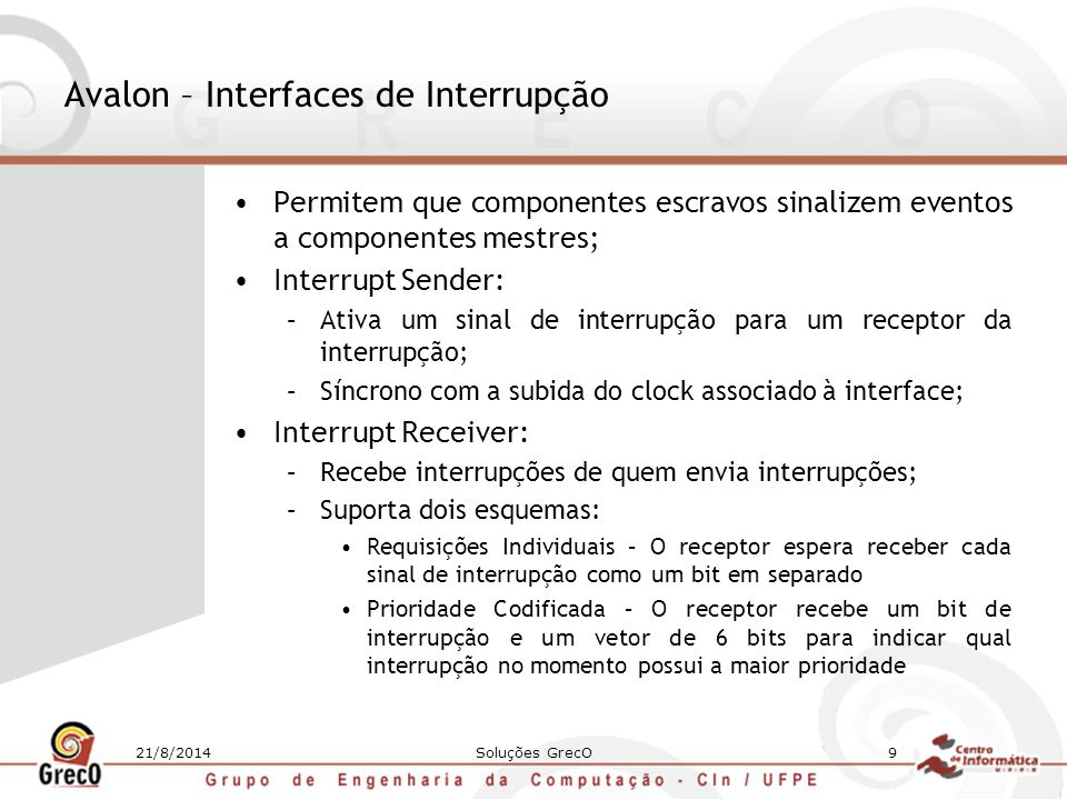 Avalon – Interfaces de Interrupção