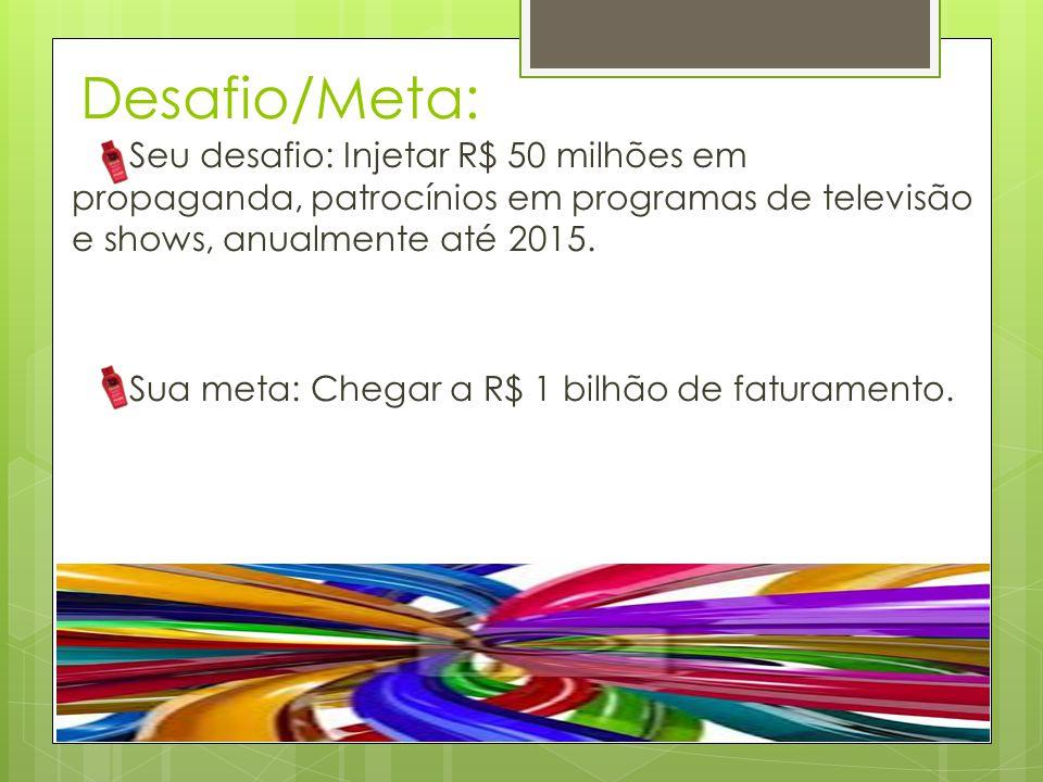 Desafio/Meta: Seu desafio: Injetar R$ 50 milhões em propaganda, patrocínios em programas de televisão e shows, anualmente até 2015.