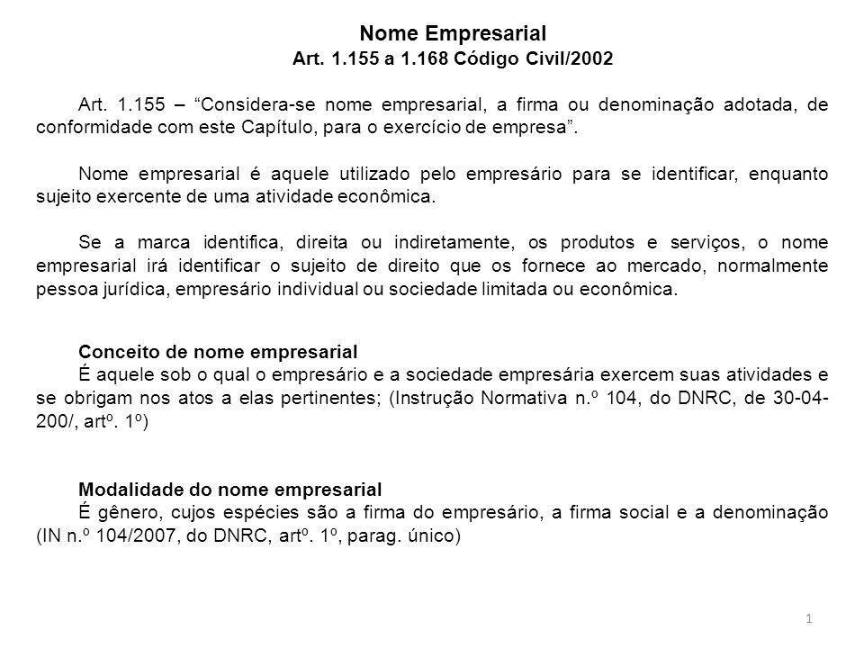 Nome Empresarial Art. 1.155 a 1.168 Código Civil/2002