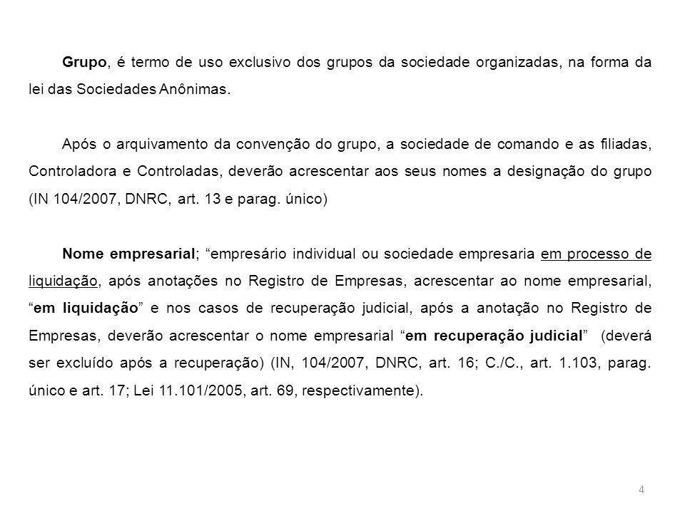 Grupo, é termo de uso exclusivo dos grupos da sociedade organizadas, na forma da lei das Sociedades Anônimas.