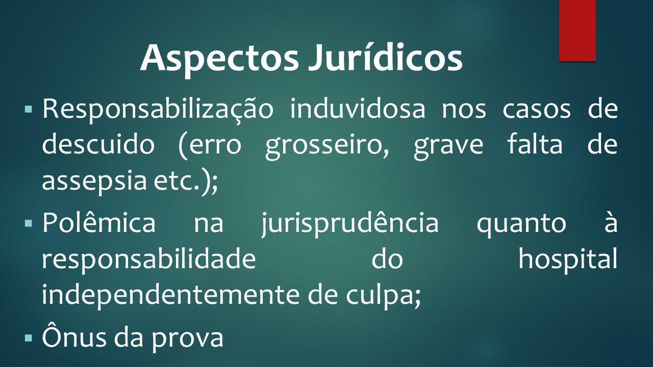 Aspectos Jurídicos Responsabilização induvidosa nos casos de descuido (erro grosseiro, grave falta de assepsia etc.);