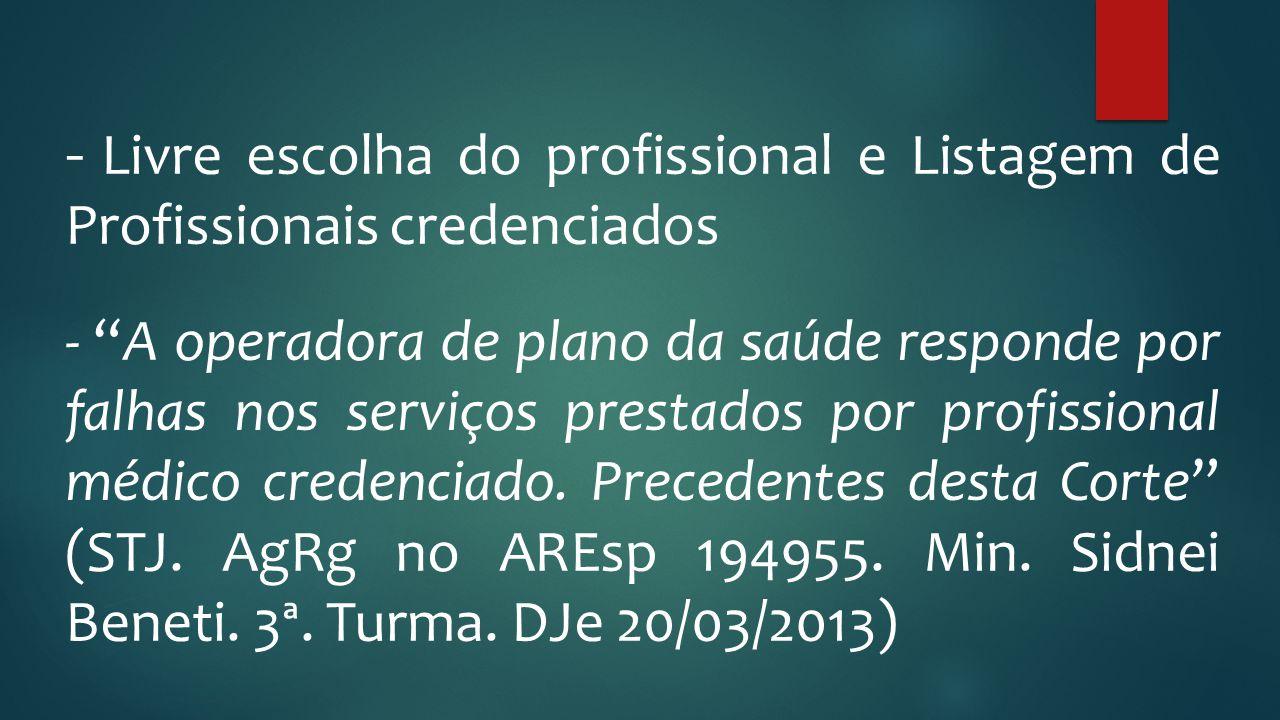 Livre escolha do profissional e Listagem de Profissionais credenciados