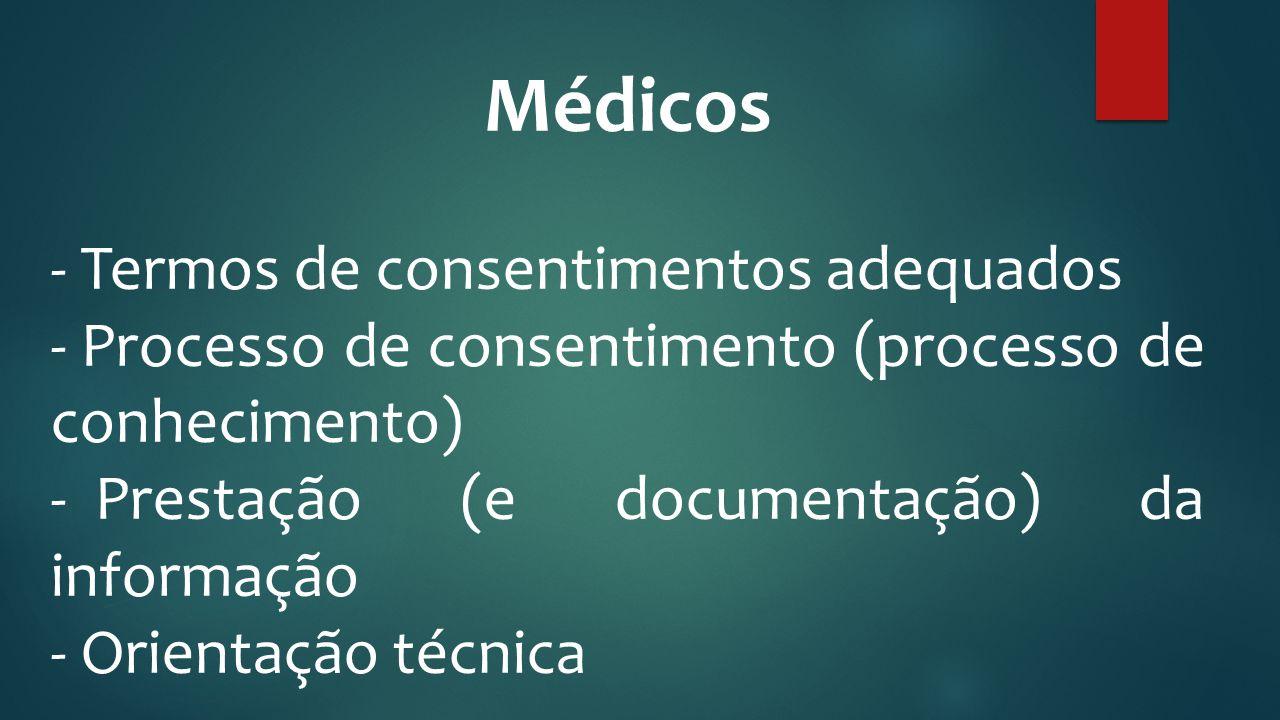 Médicos Termos de consentimentos adequados