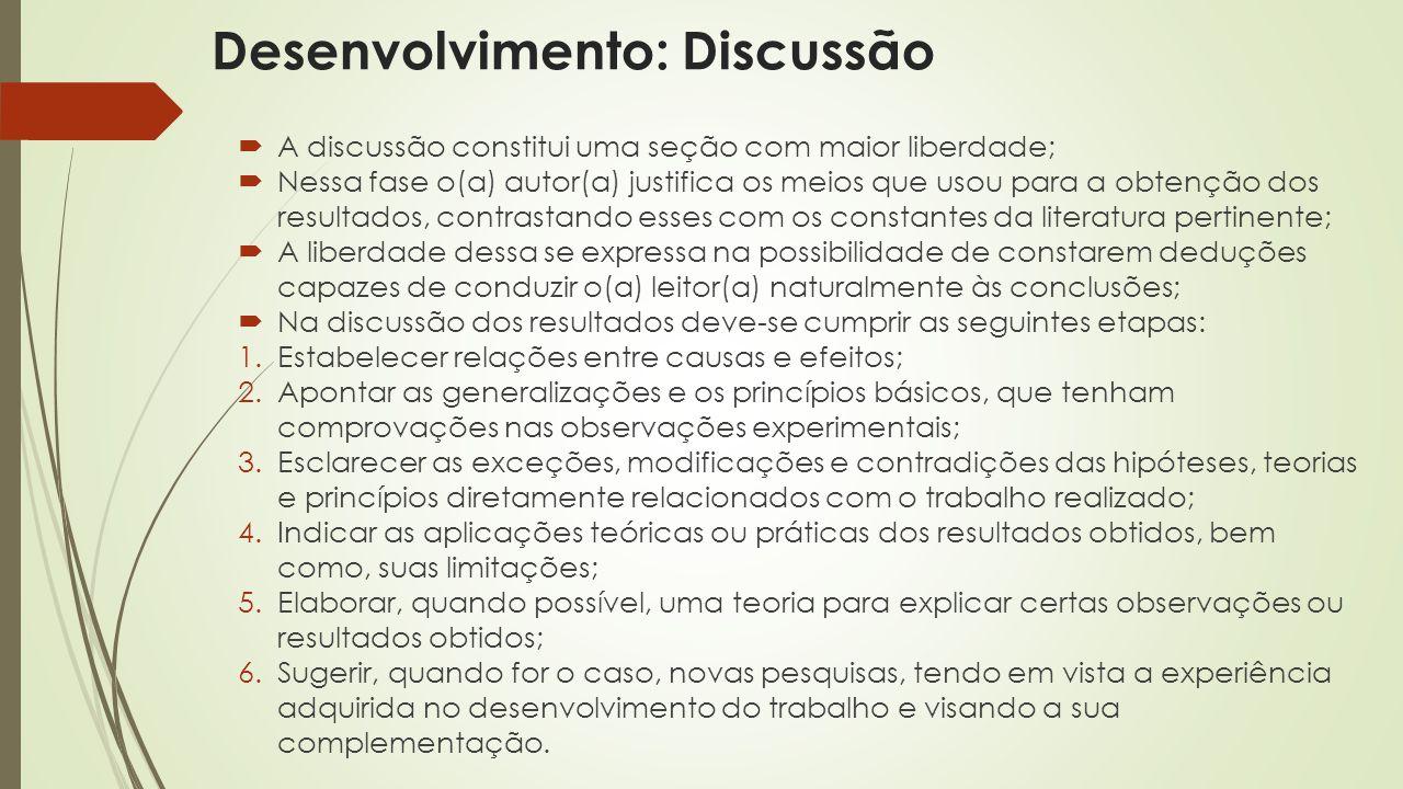 Desenvolvimento: Discussão