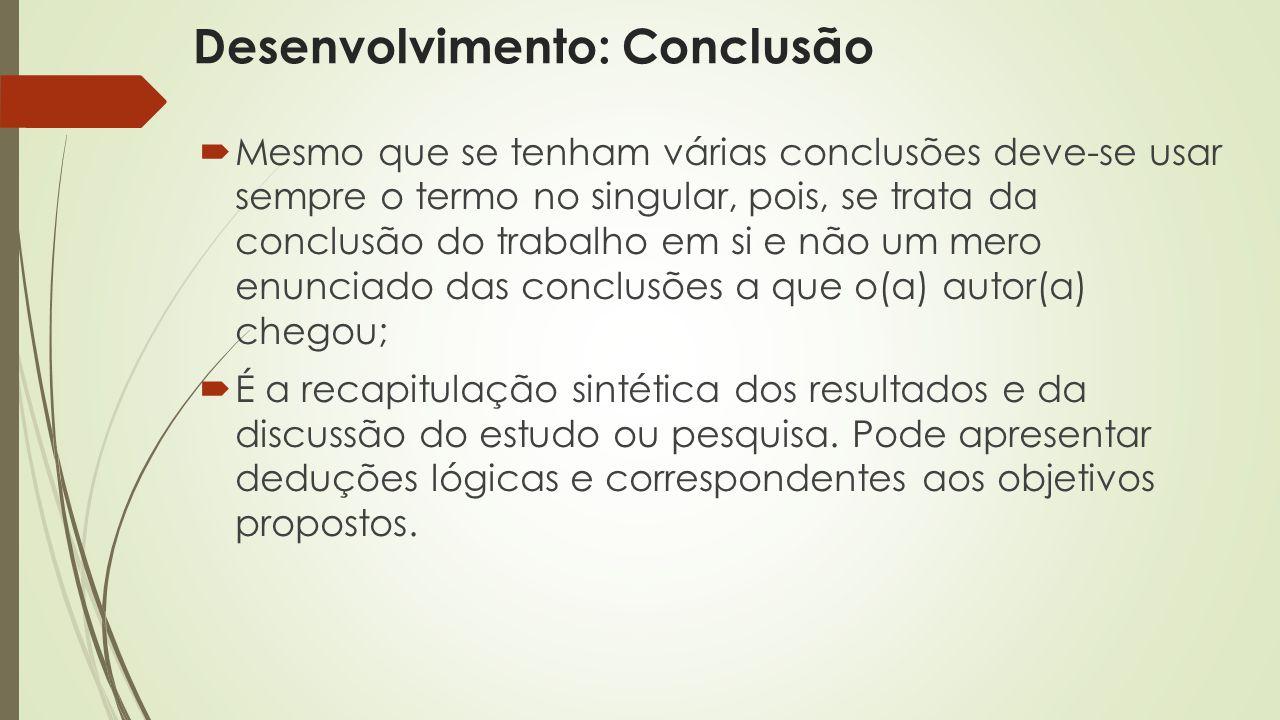 Desenvolvimento: Conclusão